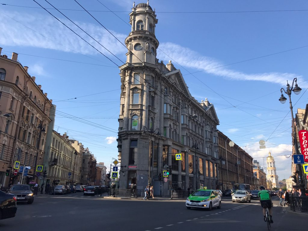 A beautiful, old building at an intersection. Somewhere in St. Petersburg.