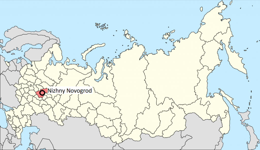 position of Nizhny novogrod in Russia