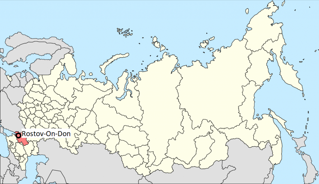 Rostov-on-Don located in South West Russia