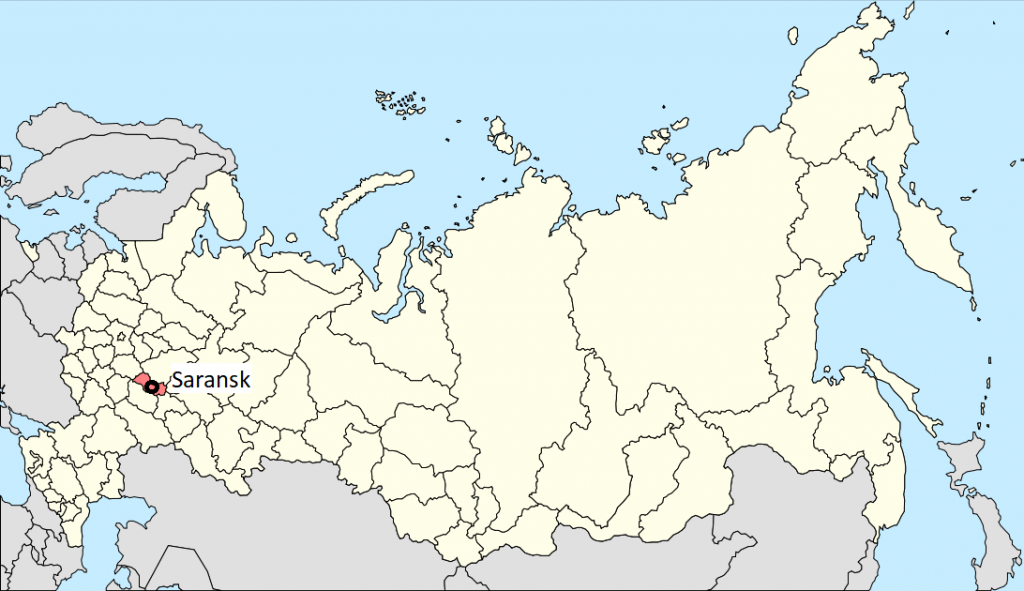 Image of a map of Russia, locating Saransk