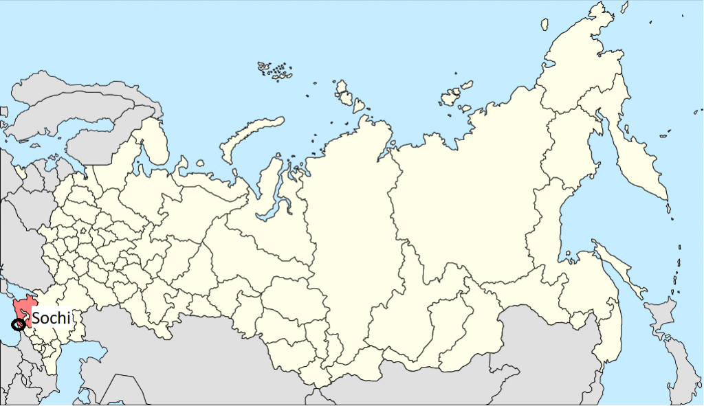 Image of Russian map, locating Sochi.