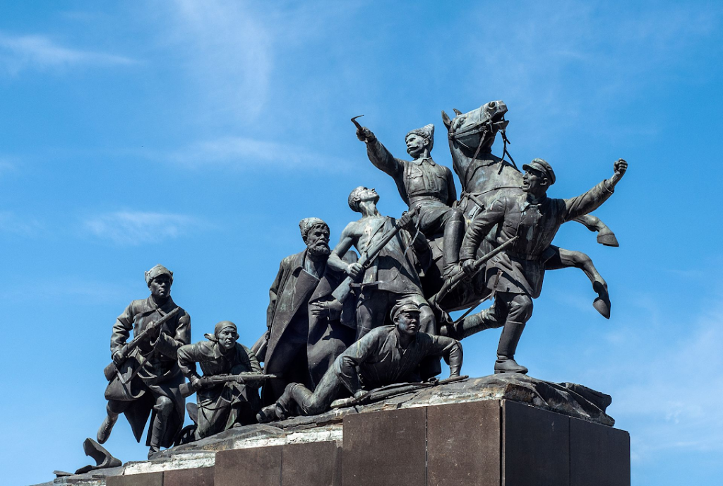 Image shows Monument to Vasily Chapaev in Samara, Russia
